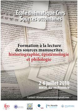 Affiche école thématique CNRS sources ottomanes