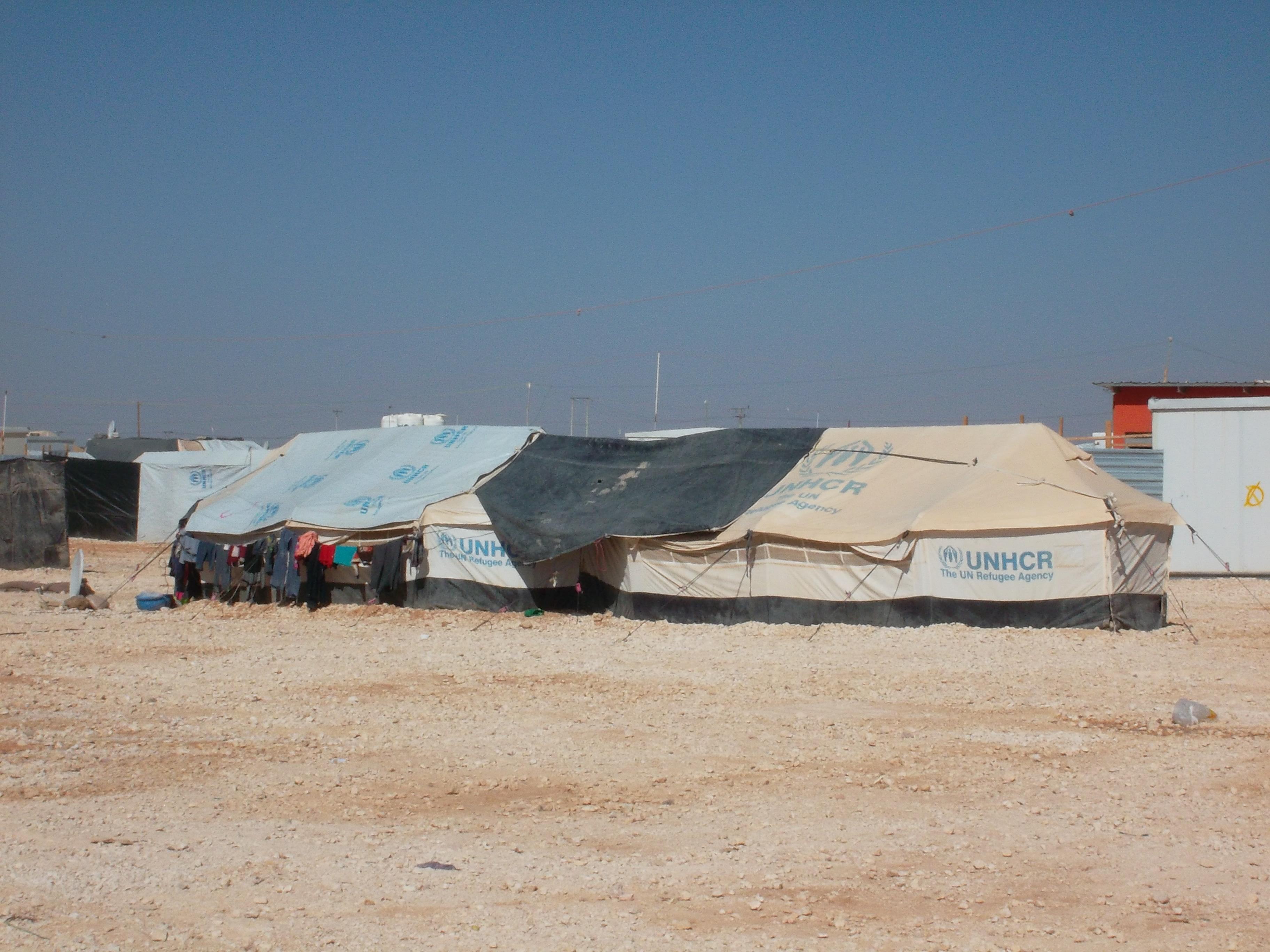 Un exemple d'habitat dans le camp de réfugiés de Zaatari, Jordanie